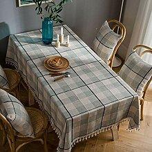 Tischdecke decke Grau Gitter bestickt mit Fransen