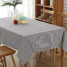Tischdecke Eckig Abwaschbar Tischwäsche Baumwolle & Leinen Tischtuch Schutzdecke Pflegeleicht Schmutzabweisend Gartentischdecke Streifen(140*200cm)