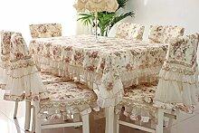 Tischdecke, englischer Landhaus-Stil mit Blumenmuster, Baumwolle mit Spitze, rechteckig, Baumwolle/Polyester-Baumwoll-Mischgewebe, braun, 43 X 62 Inches