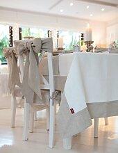 Tischdecke English Garden mit Bordüre, elfenbein , 130x130 cm, Leinen