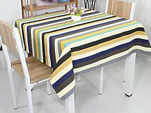 Tischdecke, Europäische Stil Einfache Streifen Baumwolle Leinen Home Hotel Einfache Stil Rechteck Tisch Tuch ( größe : 100x100cm )