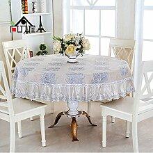 Tischdecke Europäische Tuch Tischdecke runde Tischdecke Couchtisch Tuch runde Abdeckung Handtuch runde Tischdecke ( Farbe : A2 , größe : 130*180cm )