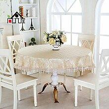 Tischdecke Europäische Tuch Tischdecke runde Tischdecke Couchtisch Tuch runde Abdeckung Handtuch runde Tischdecke ( Farbe : A1 , größe : 130*180cm )