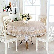 Tischdecke Europäische Tuch Tischdecke runde Tischdecke Couchtisch Tuch runde Abdeckung Handtuch runde Tischdecke ( Farbe : A7 , größe : Diameter 200cm )