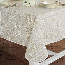 Tischdecke Extra groß Rechteckig , Tischtuch XL , Tafeltuch Landhaus Shabby Chic - Patchwork Blumen / Damast - 160x380 - Weiß / Beige - 100% Baumwolle