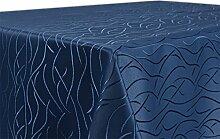 Tischdecke, FARBE wählbar, Streifen Damast Textil, Bügelfrei, Eckig 130x220 cm, Dunkelblau