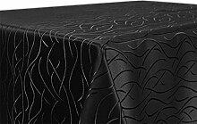 Tischdecke, FARBE wählbar, Streifen Damast Textil, Bügelfrei, Eckig 130x220 cm, Schwarz