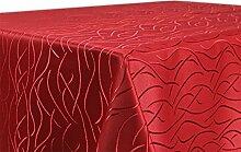 Tischdecke, FARBE wählbar, Streifen Damast Textil, Bügelfrei, Eckig 160x220 cm, Bordeaux
