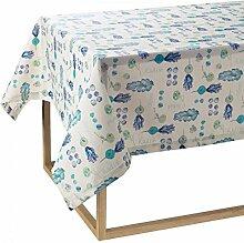 Tischdecke Fleckschutz Bassetti Time rechteckig 6812Sitzer Puro Baumwolle resianto 8 POSTI cm 140 x 220 SALAD BLUE