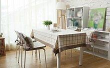 Tischdecke, Full Size Baumwolle Leinen Modern Ländlich Einfache kleine Gitter Frische Couchtisch Esszimmer Rechteck Tisch Tuch ( größe : 140x140cm )