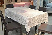 Tischdecke Gestrickte Chiffon Handtuch Tischdecke reine weiße Spitze Stoff Mode Garten Tisch Tischdecke große Runde Tischdecke ( größe : 100*100cm )
