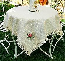 Tischdecke, handgefertigt, Blumenstickerei,