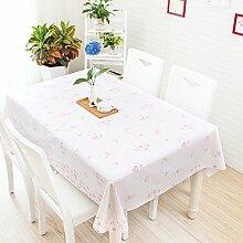 Tischdecke, im japanischen Stil kleiner Garten, frische Cartoon, Schöne karierte PVC, Kunststoff tisch Matte, Tischdecke, wasserfest, Öl, Verbrühen, rosa weiß, 130 x 100 cm
