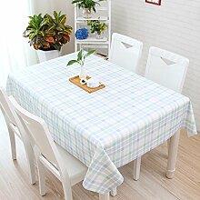 Tischdecke, im japanischen Stil kleiner Garten, frische Cartoon, Schöne karierte PVC, Kunststoff tisch Matte, Tischdecke, wasserfest, Öl, Verbrühen, Streifen blau, 130 * 220 cm