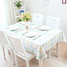 Tischdecke, im japanischen Stil kleiner Garten, frische Cartoon, Schöne karierte PVC, Kunststoff tisch Matte, Tischdecke, wasserfest, Öl, Verbrühen, Blau, 130 * 200 cm.