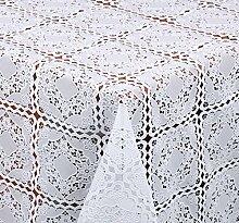 TISCHDECKE in Häkelspitze Quader Optik, Meterware, Weiss, 180x138 cm, Länge wählbar, Beautex