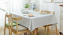 Tischdecke, in voller Größe Wasserdichte Polyester Baumwolle Moderne ländlichen Einfache Blue-Grid Streifen Frische Couchtisch Esstisch Rechteck Tisch Tuch ( größe : 140x180cm )