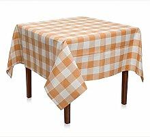Tischdecke, Karo 5x5 cm, Modal, wetterfest, kariert, für Restaurant, Privat und Terrassse   130x160 cm - Orange Weiß
