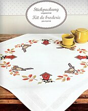 Tischdecke kompl. Stickpackung - vorgezeichnet - Kreuzstich, Amsel