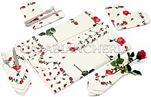 Tischdecke Kunstdrucke Romagnole rote Rosen mit oder ohne Servietten Tovaglia x12 con tovaglioli