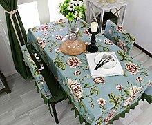 Tischdecke, Ländliche Art Baumwolltisch Tuch Rosa Spitze Kaffee Tisch Blume Geräuschreduktion ( größe : 140x180cm )