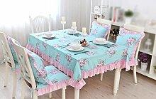 Tischdecke, ländlichen Stil Baumwolle Tischdecke rosa Spitze Kaffee Tisch Blume Lärm Reduzierung blau ( größe : 140x200cm )