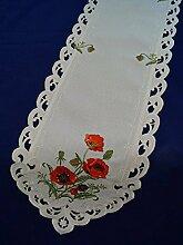 Tischdecke Läufer Mitteldeke Creme mit Mohnblumen rot gestickt pflegeleicht 28 x 160 cm 44562 Fa.Bowatex