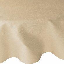 Tischdecke Leinen Optik Eckig Rund Oval mit Lotus Effekt Form, Farbe und Größe wählbar von DecoHometextil, Rund 160 cm, Beige Sand