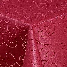 """Tischdecke Maßanfertigung Sondergröße Übergröße Gartentischdecke im Ornamente-Lotus Design """"WASSERABWEISEND-PERLEFFEKT"""" - Größe frei wählbar Bordeaux 120cm x 280cm"""