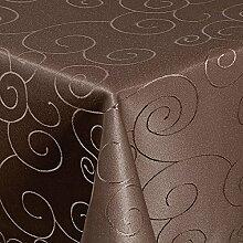 """Tischdecke Maßanfertigung Sondergröße Übergröße Gartentischdecke im Ornamente-Lotus Design """"WASSERABWEISEND-PERLEFFEKT"""" - Größe frei wählbar Braun 110cm x 140cm"""