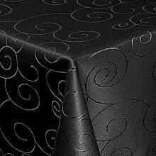"""Tischdecke Maßanfertigung Sondergröße Übergröße Gartentischdecke im Ornamente-Lotus Design """"WASSERABWEISEND-PERLEFFEKT"""" - Größe frei wählbar Schwarz 120cm x 270cm"""