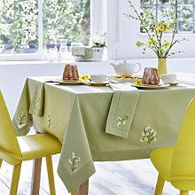 Tischdecke mit aufwendiger Narzissenstickerei