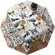 Tischdecke mit Cartoon-Katzen-Motiv, wasserfest,