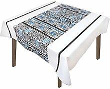 Tischdecke mit Fleckschutz quadratisch 180x180 cm WAX blau, Soleil d'ocre