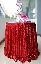 Tischdecke mit Silberpailletten, 304,8cm rund, glitzernd Red Color