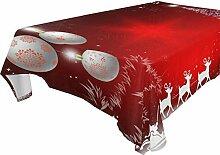 Tischdecke mit Weihnachtsmann und Hirschmotiv,