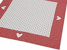 Tischdecke/Mitteldecke 70x70 cm im Landhausstil rot-weiß mit Herzstickerei