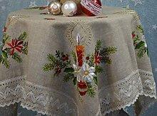 Tischdecke Mitteldecke Handarbeit Klöppelspitze Weihnachten Christmas Winterzeit Bestickt Landhausstil ca. 100 x 100 cm Beige/Bun