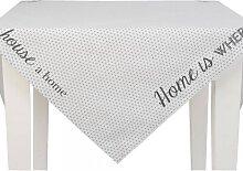 Tischdecke, Mitteldecke HOME IS 100x100cm grau weiß Clayre & Eef (22,95 EUR / Stück)