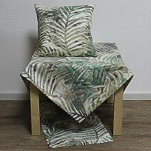 Tischdecke Mitteldecke MALAGA Blätter grün 85x85