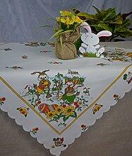 Tischdecke Mitteldecke Ostern Ostereier Osterhasen 85/85 cm Weiß/Bun