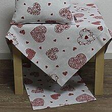 Tischdecke, Mitteldecke PACHINO 85x85cm weiß rot mit Herzen Hossner (16,50 EUR / Stück)