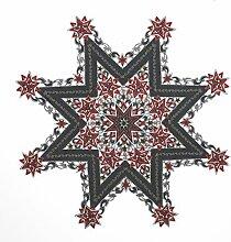Tischdecke Mitteldecke, Stern 85 cm Weihnachten Sterne Lurex Garn, Farbe wählbar (Dunkelgrau)