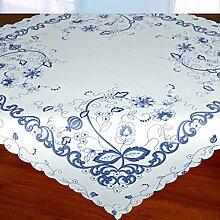 Tischdecke Mitteldecke VINTAGE BLAU / weiße