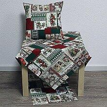 Tischdecke Mitteldecke Weihnachtsmotive grün rot