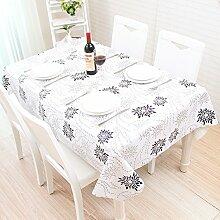 Tischdecke, modern, schwarz und weiß Tisch Matte, Tischdecke, Koreanischer Garten, frische kleine PVC, Kunststoff wasserdicht, Proof, schwarz, 137 * 137 cm