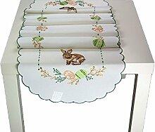 Tischdecke Ostern Sekt Stickerei hübscher HASE