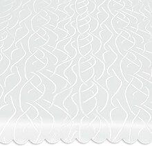 Tischdecke oval 130x220 cm Tafeltuch Struktur damast Streifen bügelfrei fleckenabweisend #1368 (weiß)
