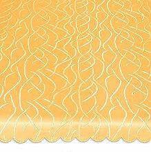 Tischdecke oval 135x180 cm Tafeltuch Struktur damast Streifen bügelfrei fleckenabweisend #1367 (gelb)