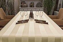 Tischdecke oval mit Bleiband im Saum, Teflonbeschichtet, pflegeleicht in Designs:Mailand, sand-beige Maß: 140x195